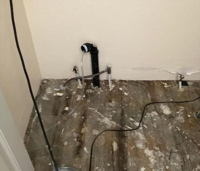 Water damage in a bathroom in Flagstaff, AZ, that was caused by the plumbing in the bathroom during a remodel