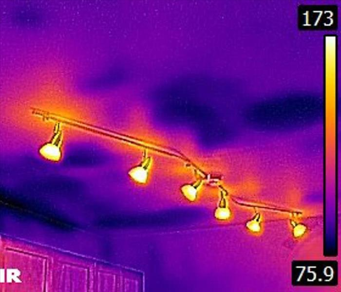 IR image shows water damage in ceiling in Sedona